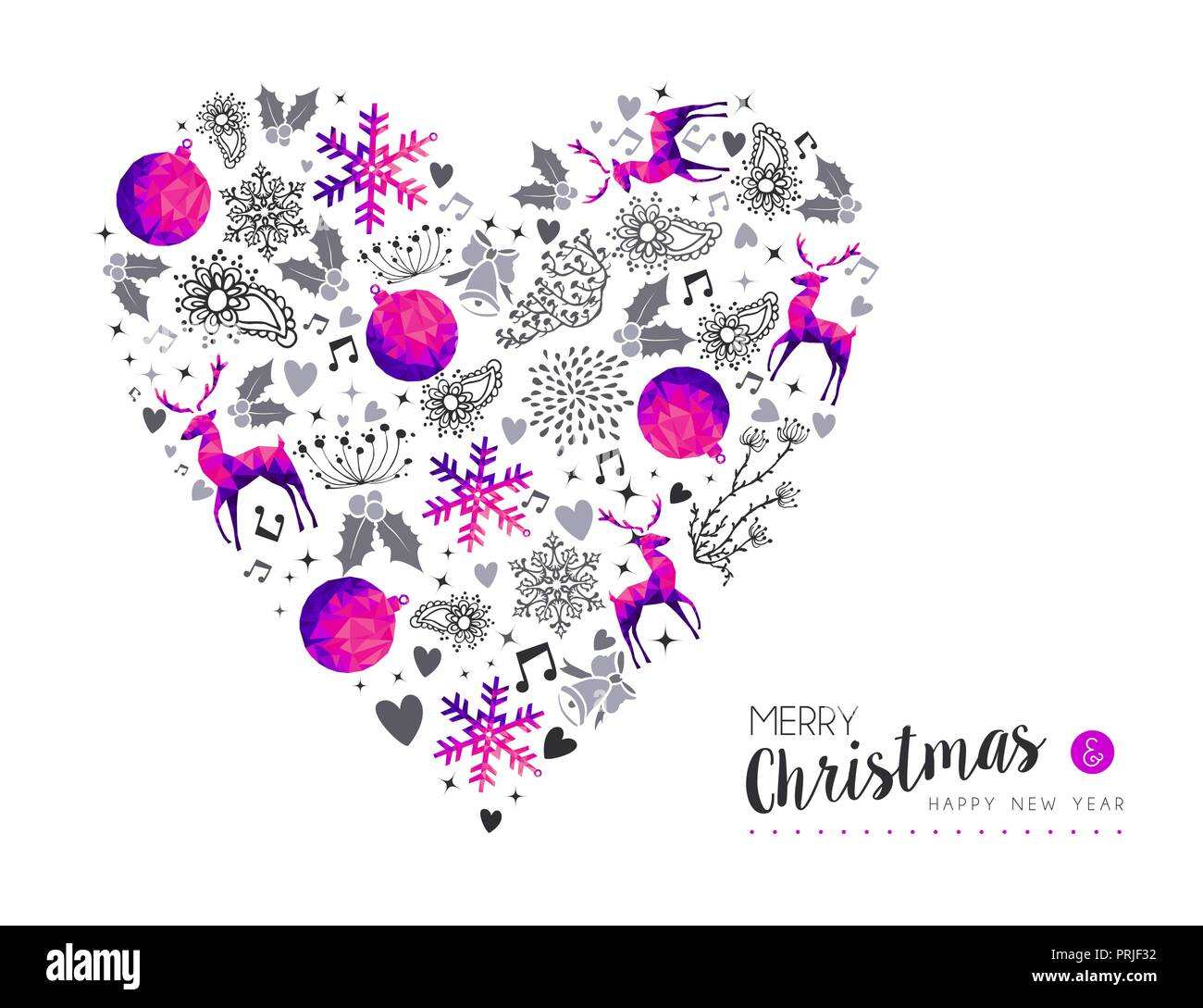 merry christmas happy new year greeting card love design pink low poly reindeer and xmas season decoration with hand drawn holiday nature shapes eps