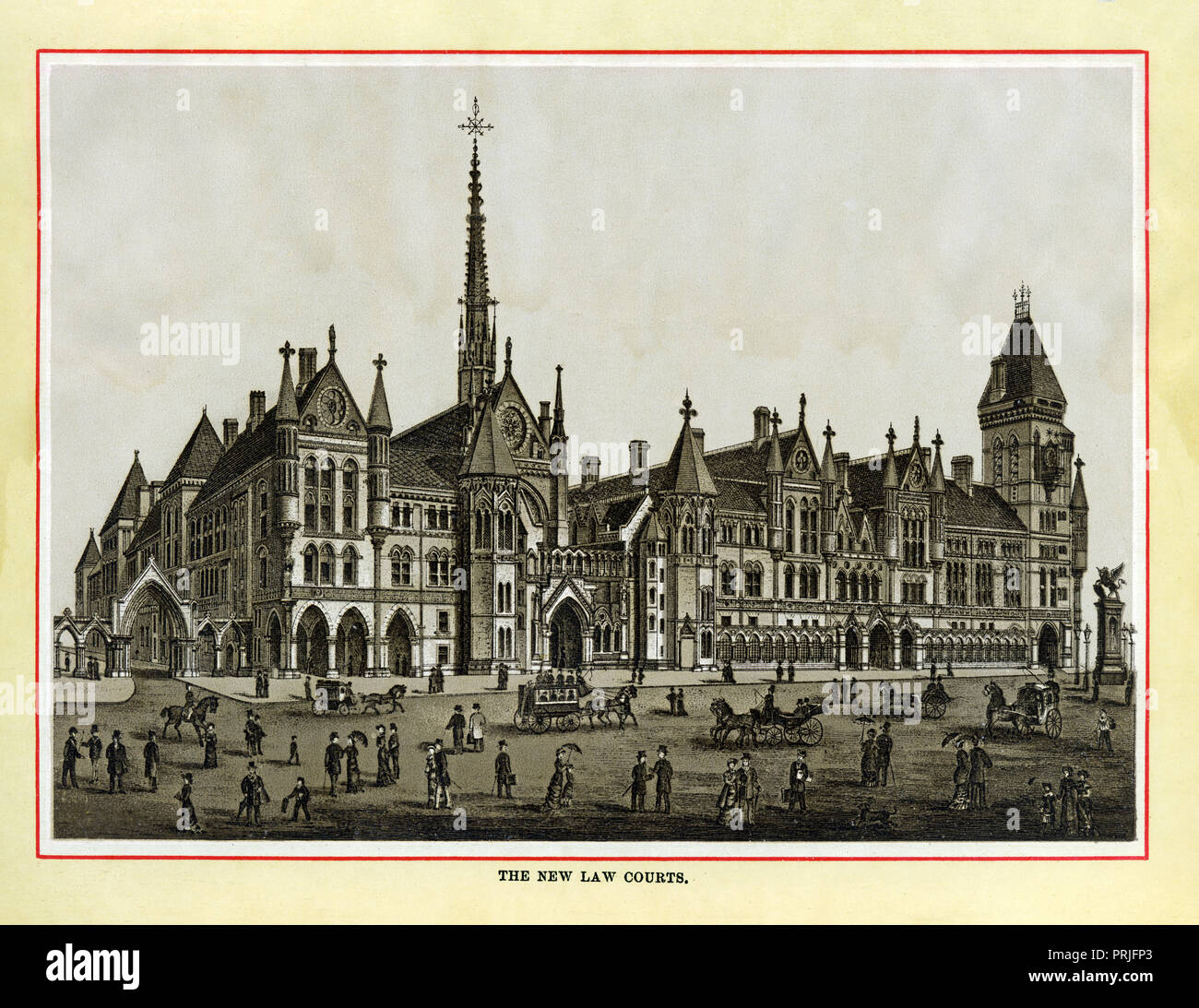 The New Law Courts, 1883 high quality steel engraving of the Royal Courts of Justice, opened by Queen Victoria the year before on the Strand just outside the boundary of the City of London as marked by Temple Bar on Fleet Street - Stock Image