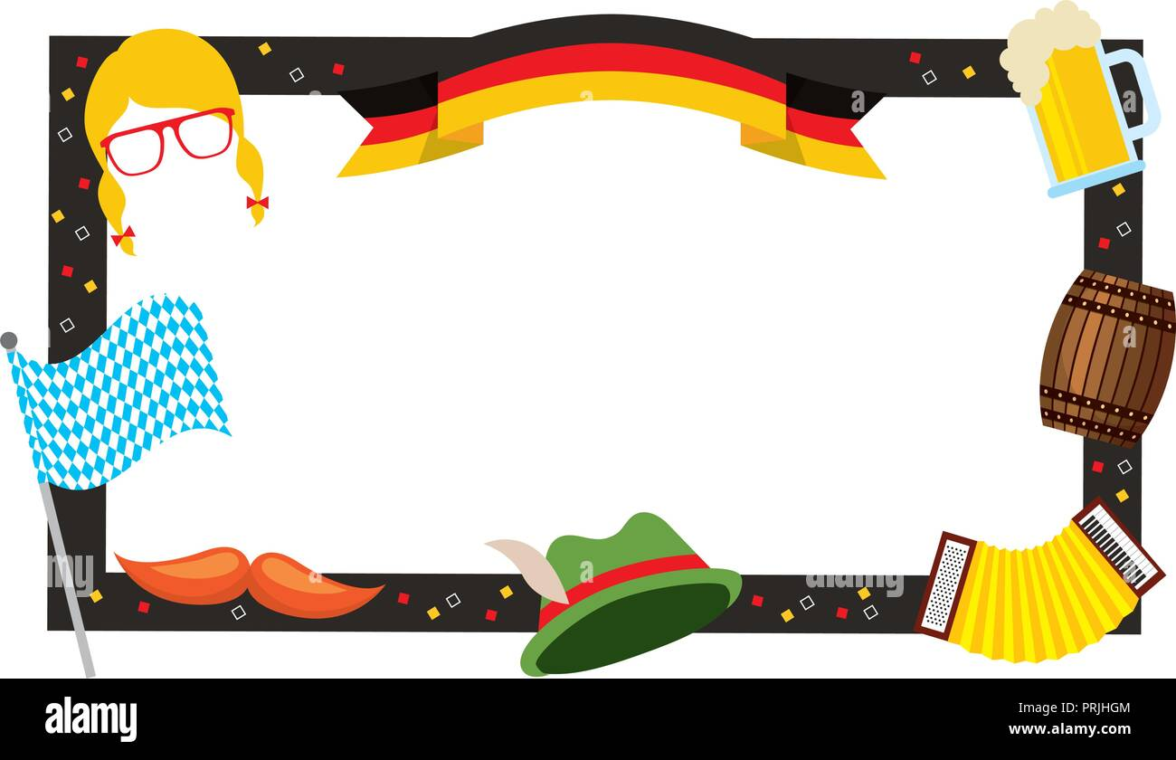 oktoberfest frame hat beer flag barrel decoration - Stock Image