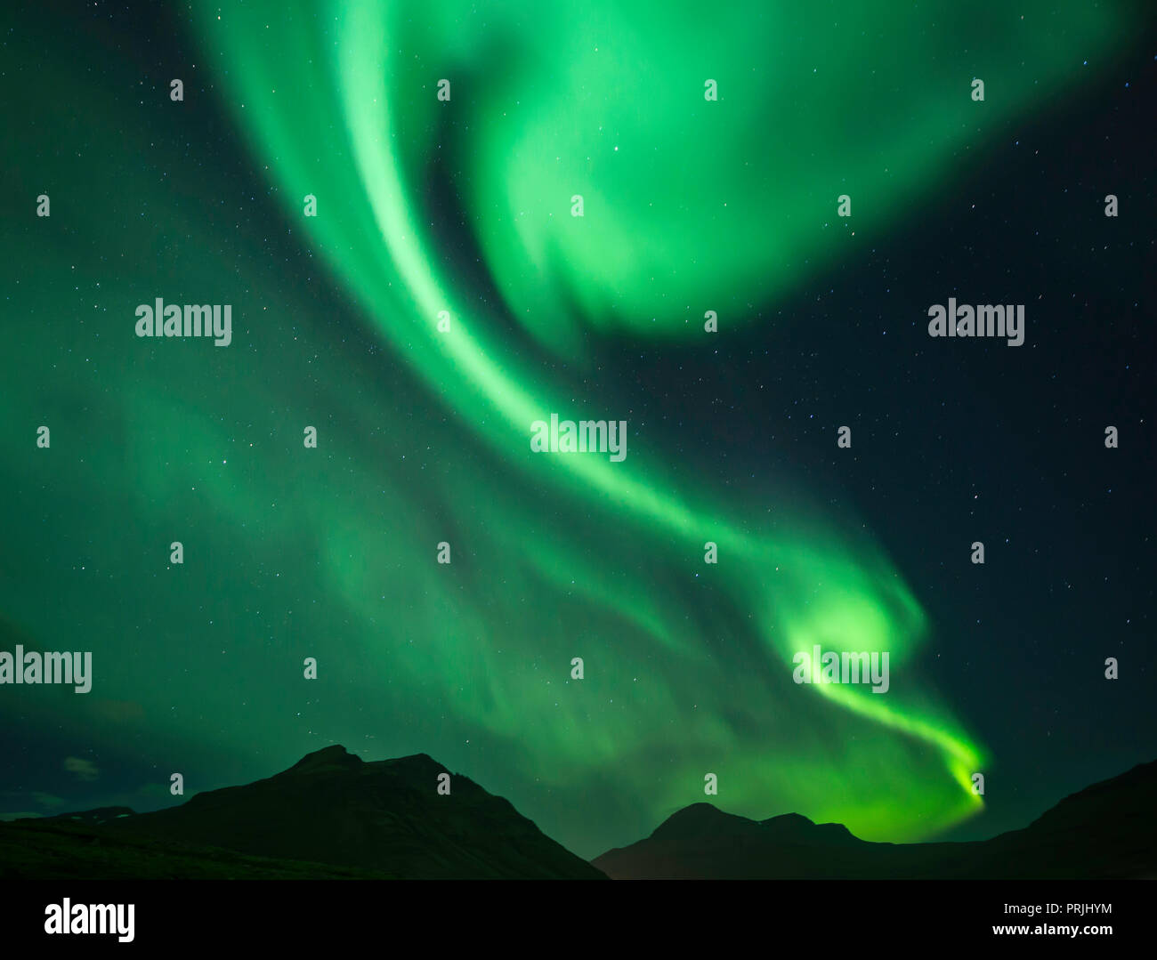 Northern Lights at New Moon, East Fjords, Iceland - Stock Image