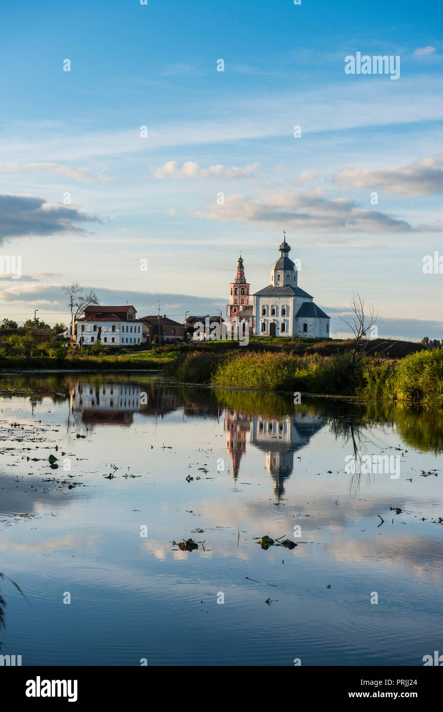 Abandonded church reflecting in the Kamenka river, Suzdal, Golden ring, Russia - Stock Image