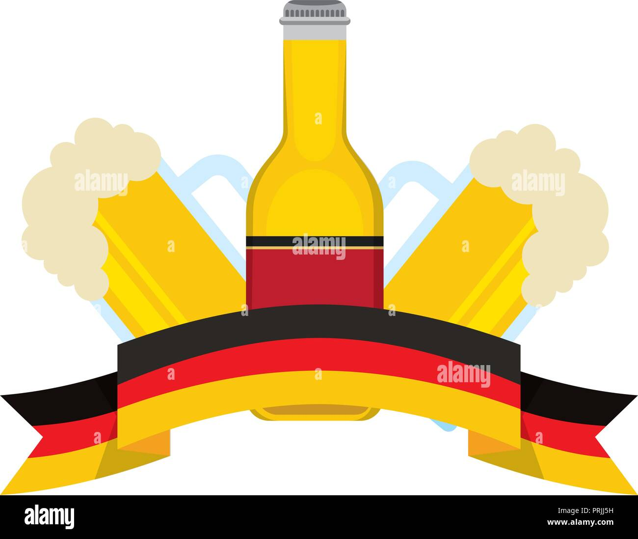 bottle beer and glass cups flag germany - Stock Image
