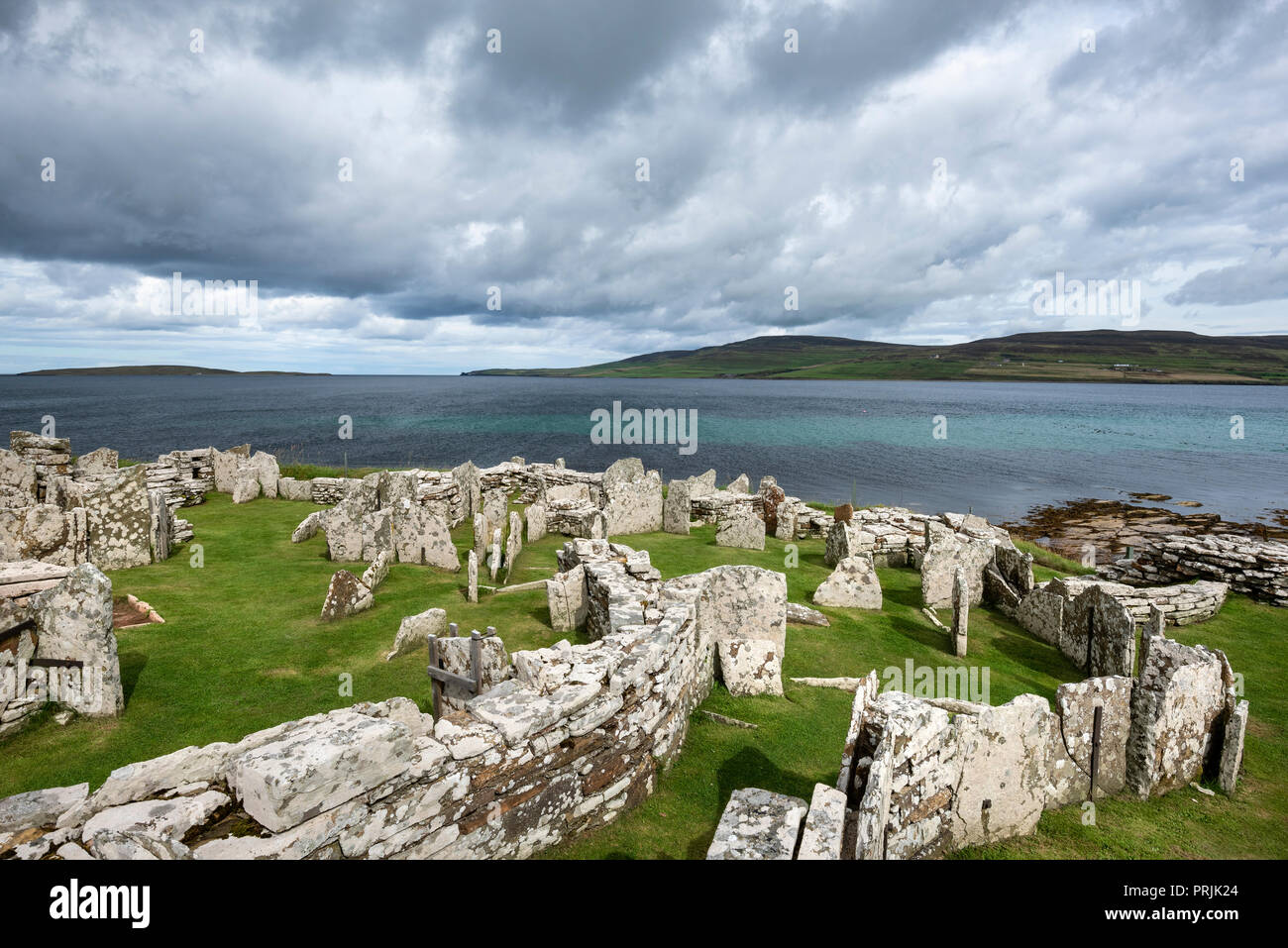 Iron Age settlement ruins, Broch of Gurness, Tingwall, Orkney Islands, Scotland, United Kingdom Stock Photo