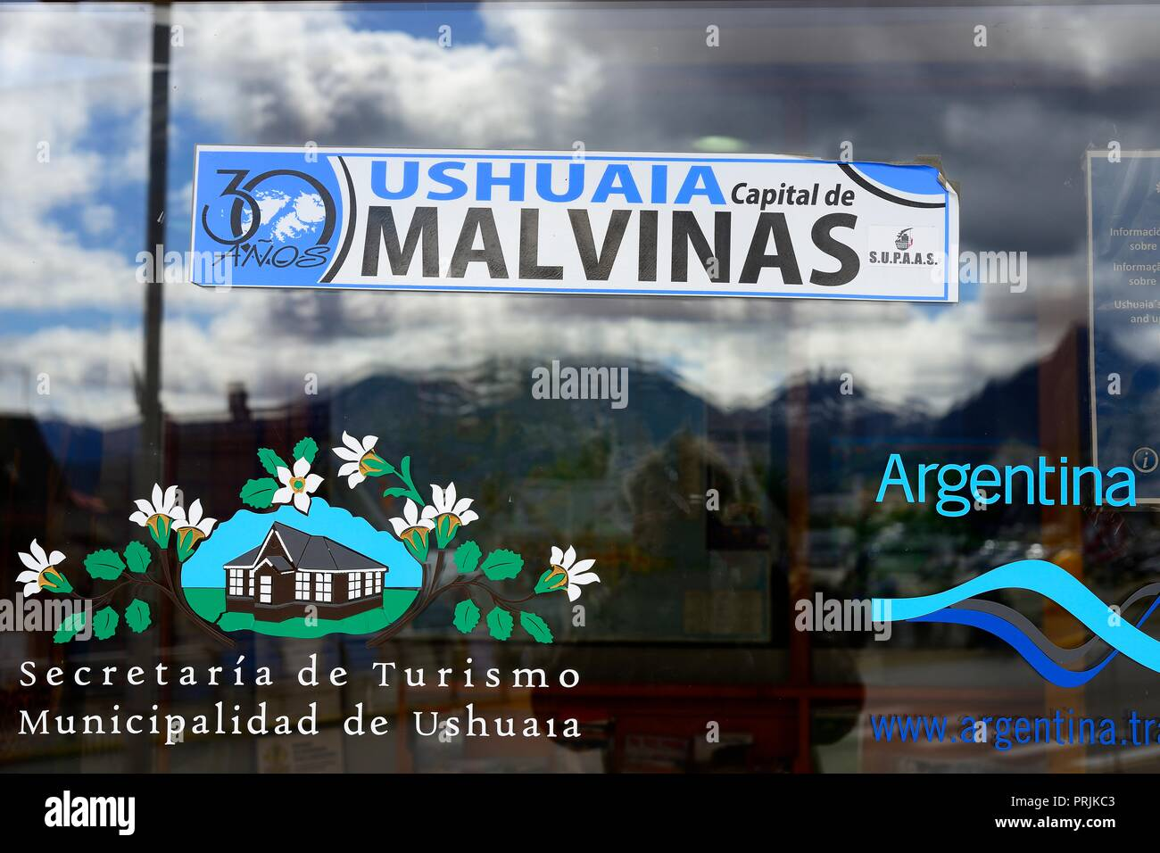 Ushuaia, capital of the Malvinas, Falkland Islands, sticker at the Tourist Information Office, Tierra del Fuego Province - Stock Image