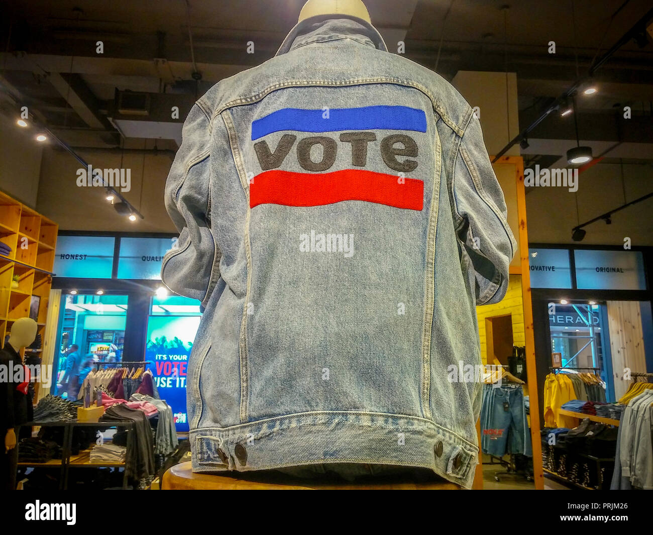 Merchandise encouraging people to register to vote and to exercise their franchise by voting is seen in a Levi Strauss & Co. store in New York on Monday, September 24, 2018. Levi's along with other major brands such as Patagonia, Walmart and Lyft are making a push to increase voter turnout in advance of the important midterm elections. The companies' 'Time To Vote' campaign is to counter low voter turnout and besides swaying the public they will offer time off for their employees to visit their polling locations. (© Richard B. Levine) - Stock Image