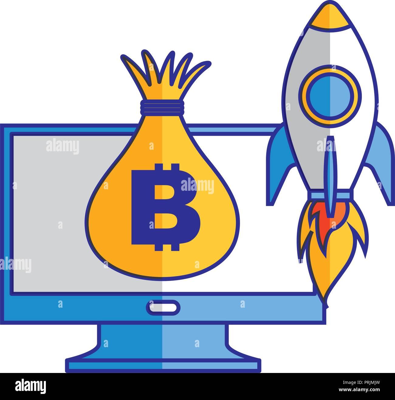 computer money bag and rocket launching Stock Vector Art
