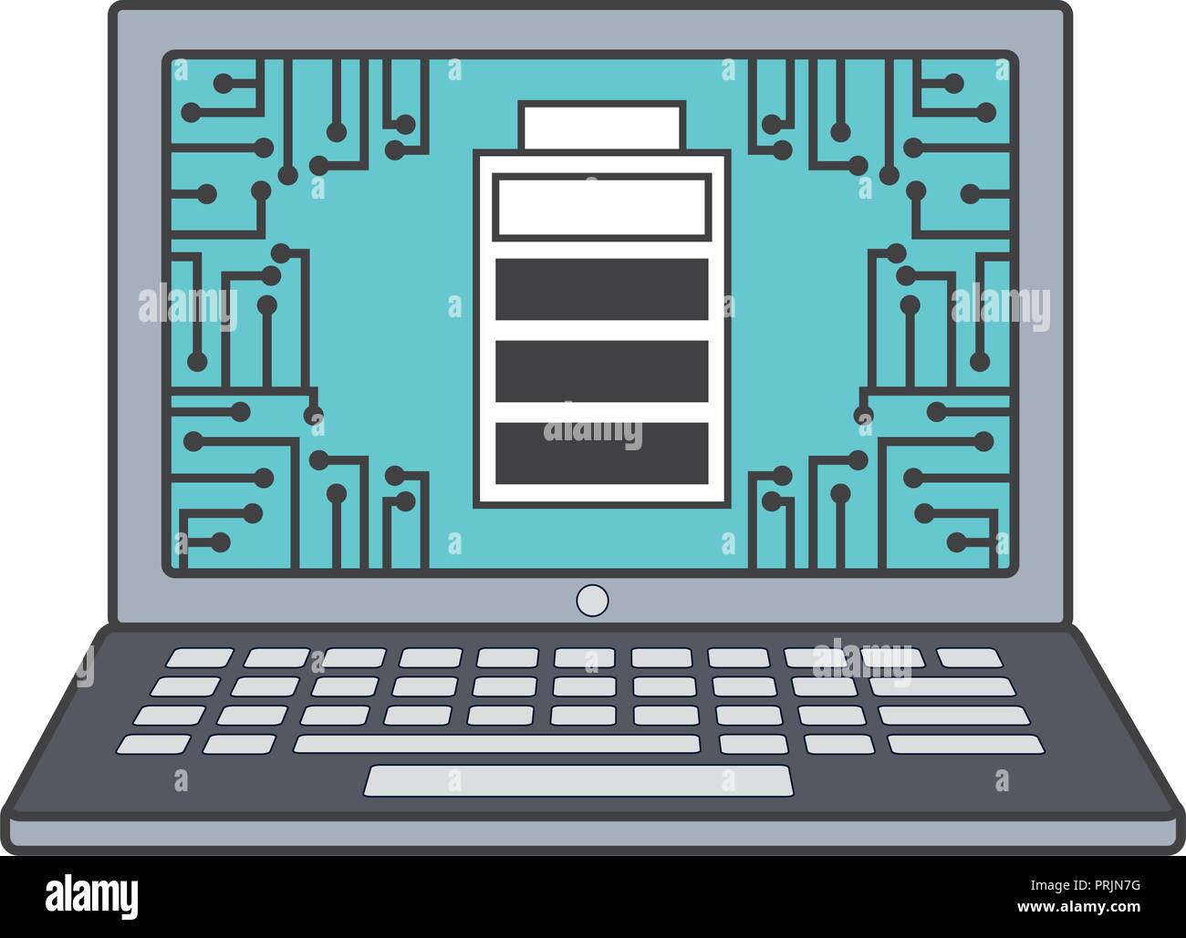 laptop computer with battery level isolated icon - Stock Image