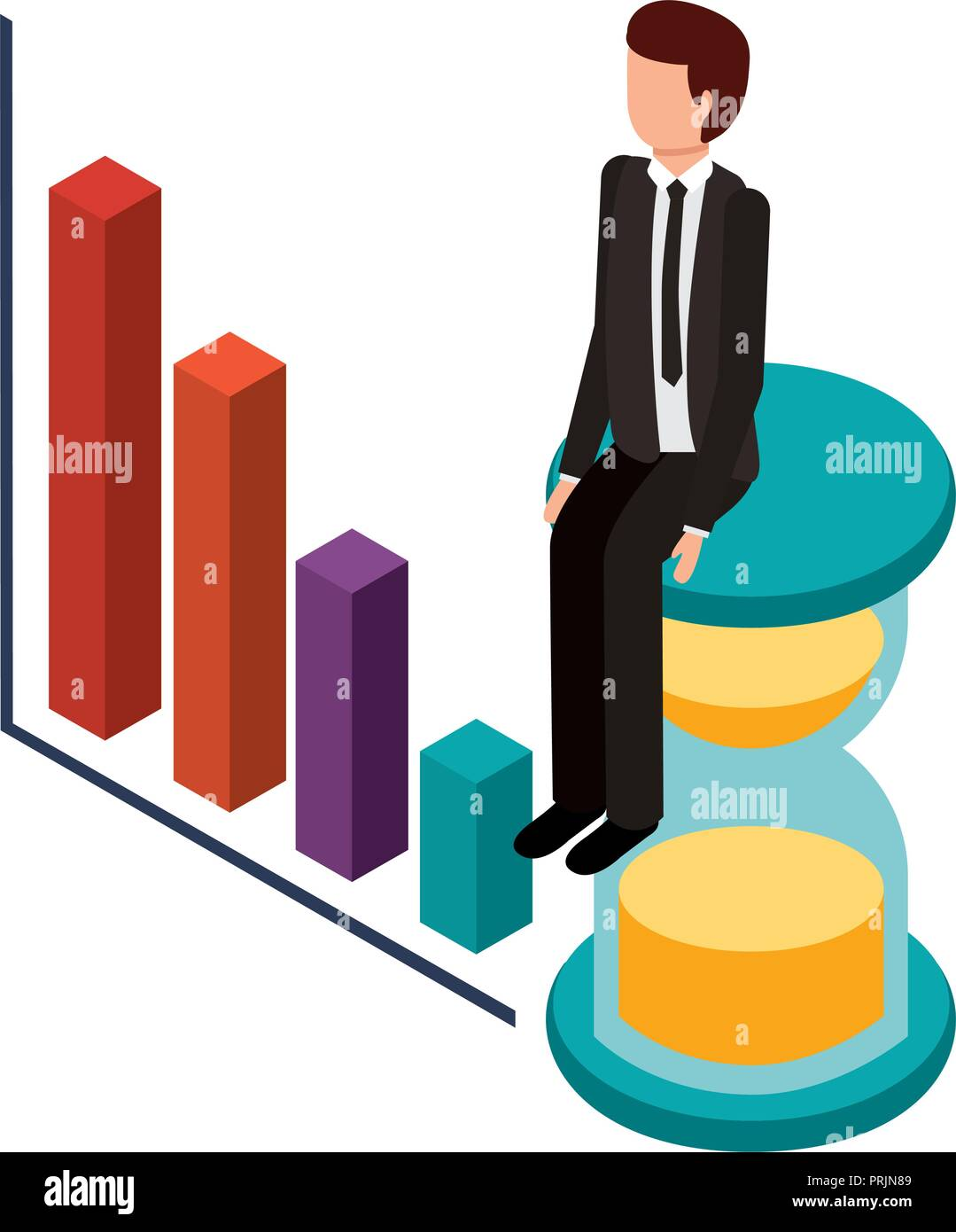 businessman with statistic graphic and hourglass - Stock Image