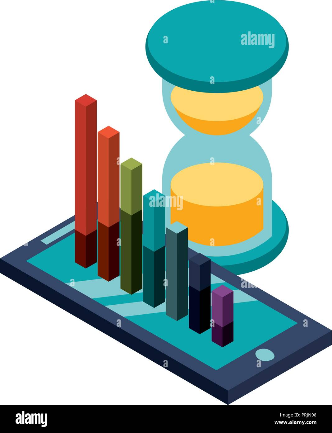 smartphone with statistic graphic and hourglass - Stock Image