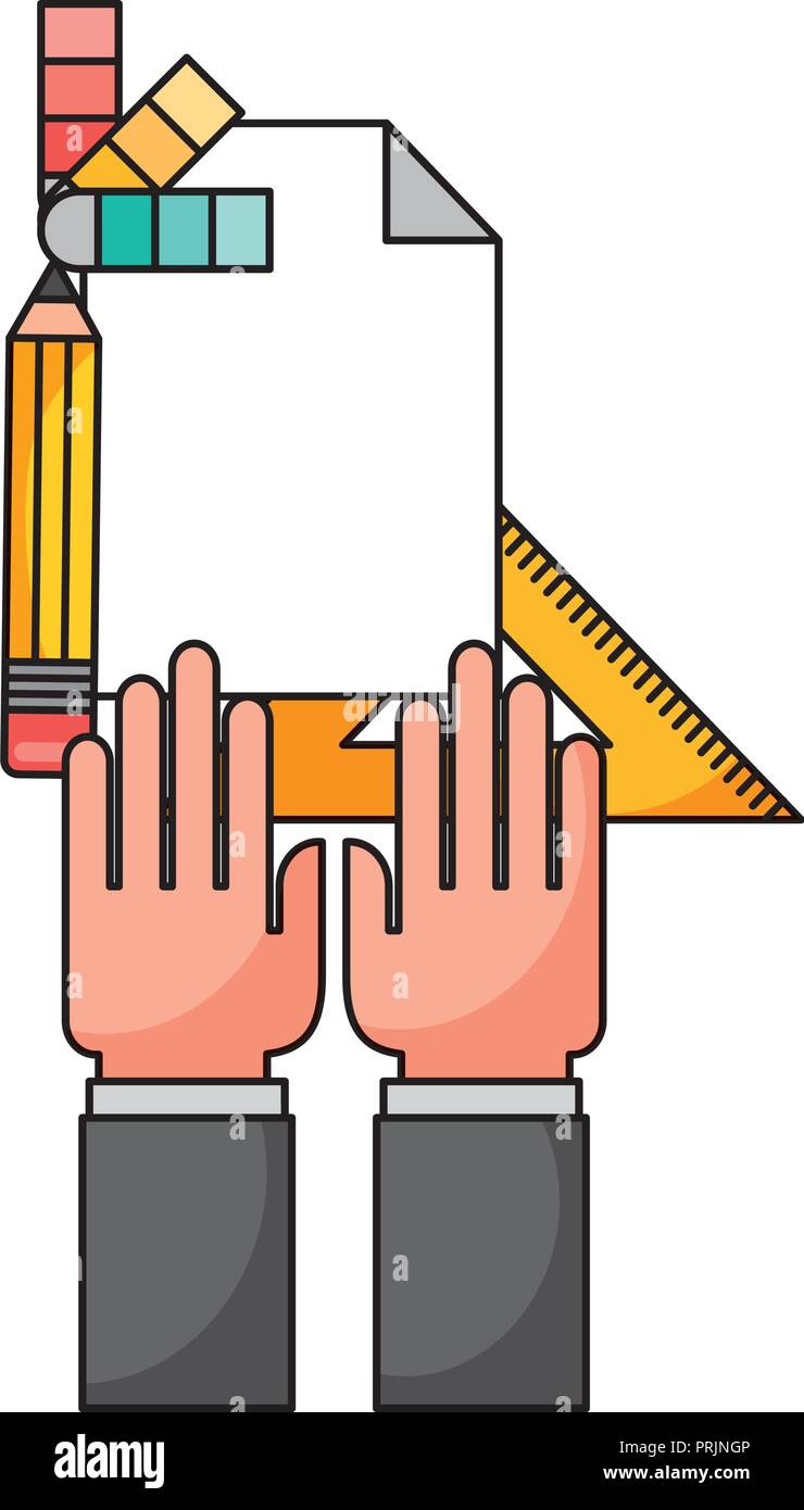 hand with metric ruler and icons - Stock Vector