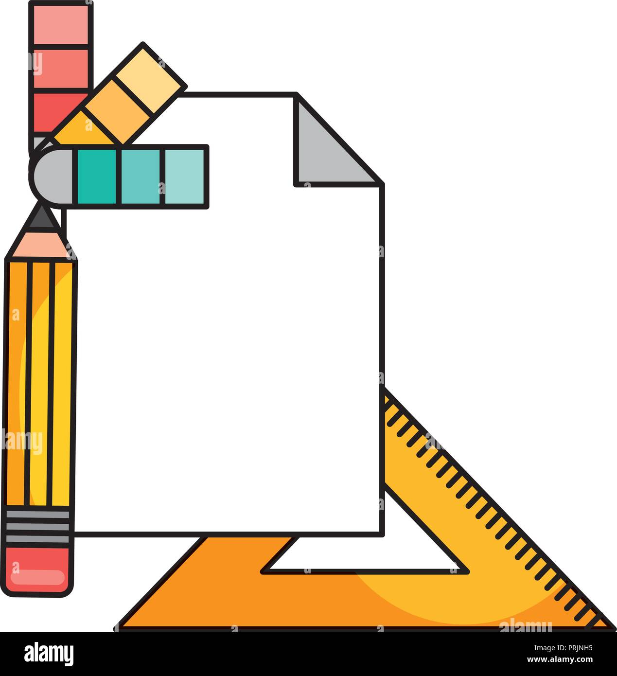 pencil with paper document and icons - Stock Vector
