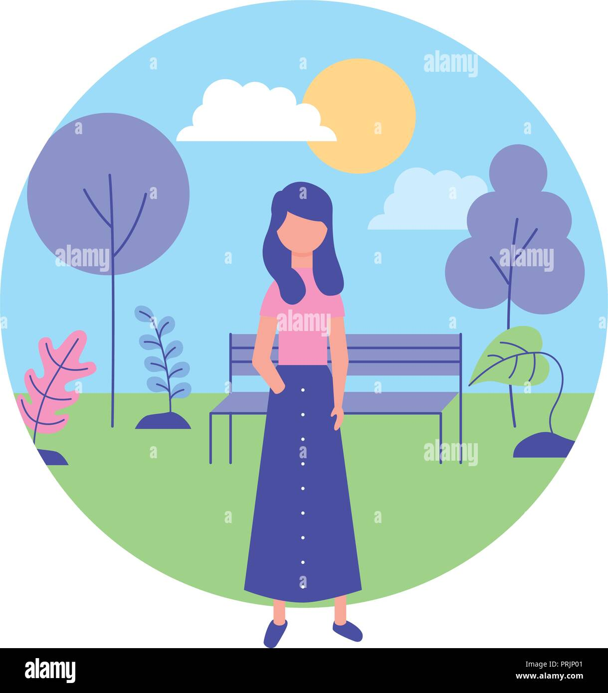 young woman with landscape in park - Stock Vector