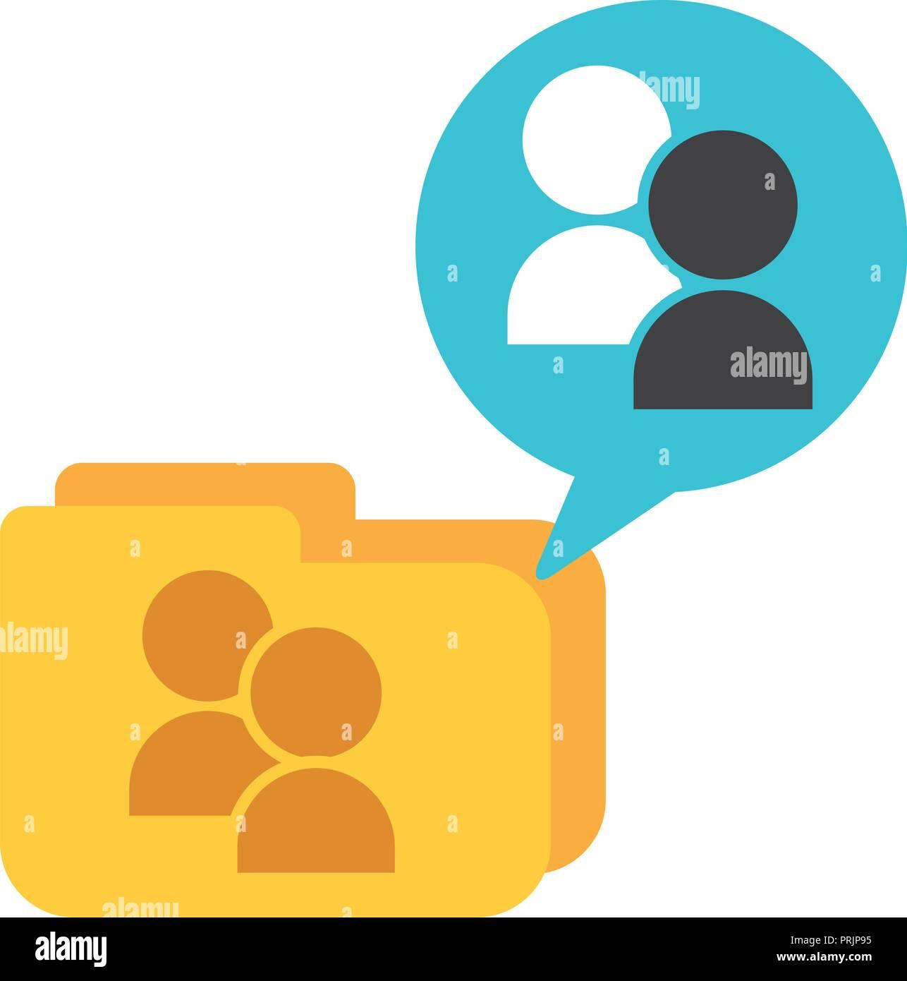 folder file group people speech bubble Stock Vector Art
