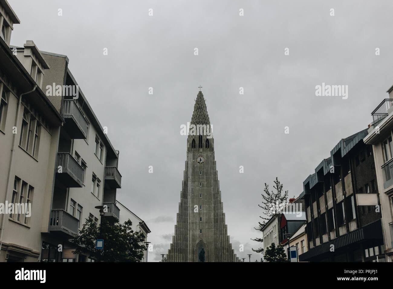 REYKJAVIK, ICELAND - 22 JUNE 2018: spire of Hallgrimskirkja church ...