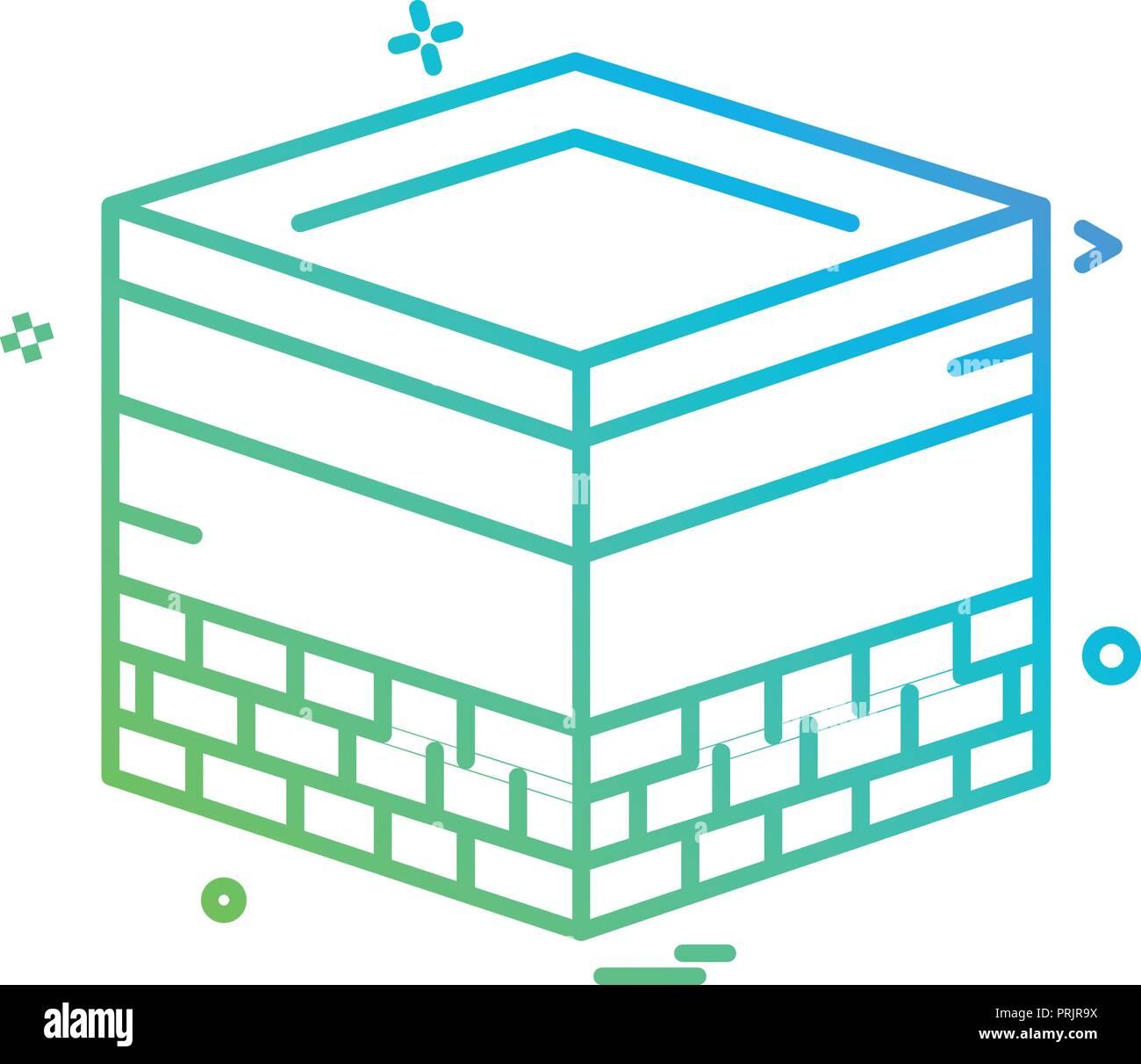 Holy Kaaba icon design vector - Stock Image