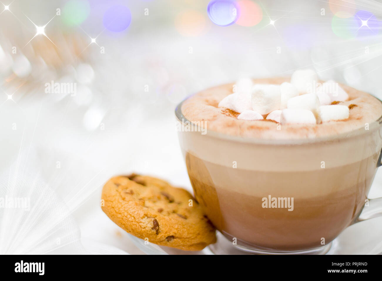 holidays winter celebration and good morning concept christmas and new year card with cup of cacao hot chocolate with marshmallow and gingerbread