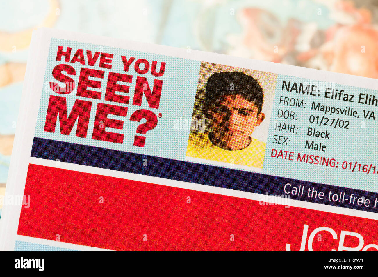 Have You Seen Me ad of missing Hispanic boy) missing children, missing child, missing person, missing persons - USA - Stock Image