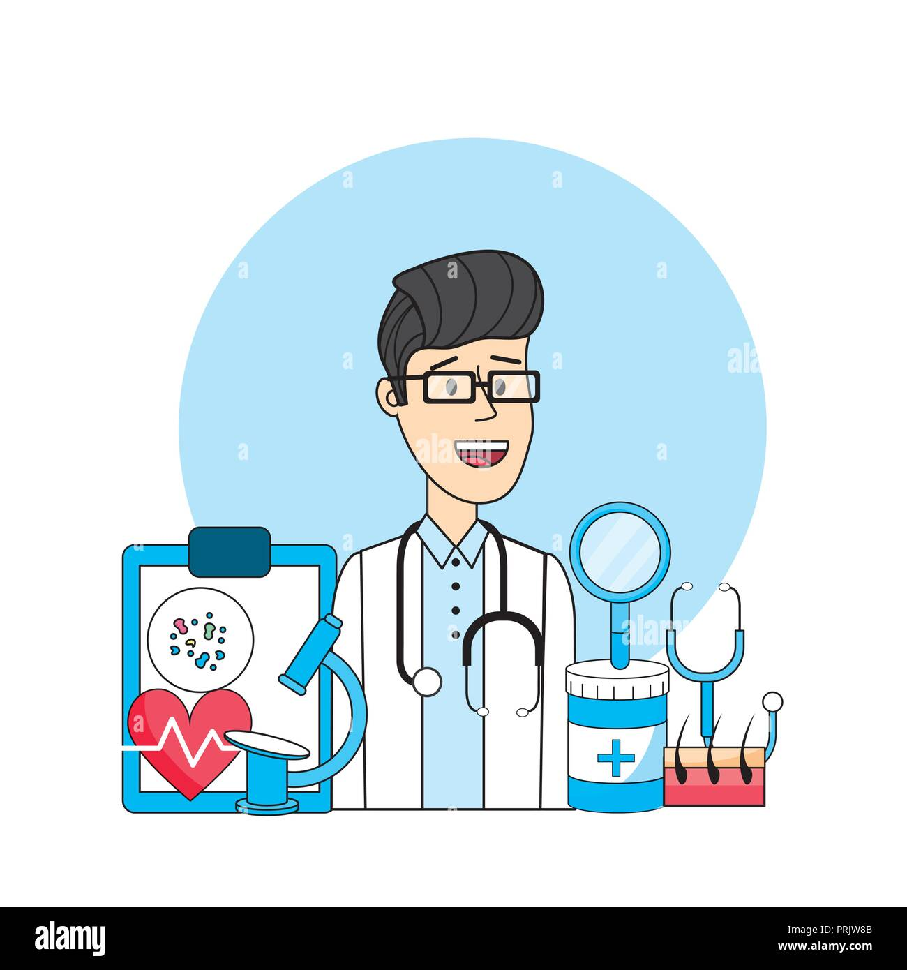 doctor with medical diagnosis treatment prevention - Stock Image