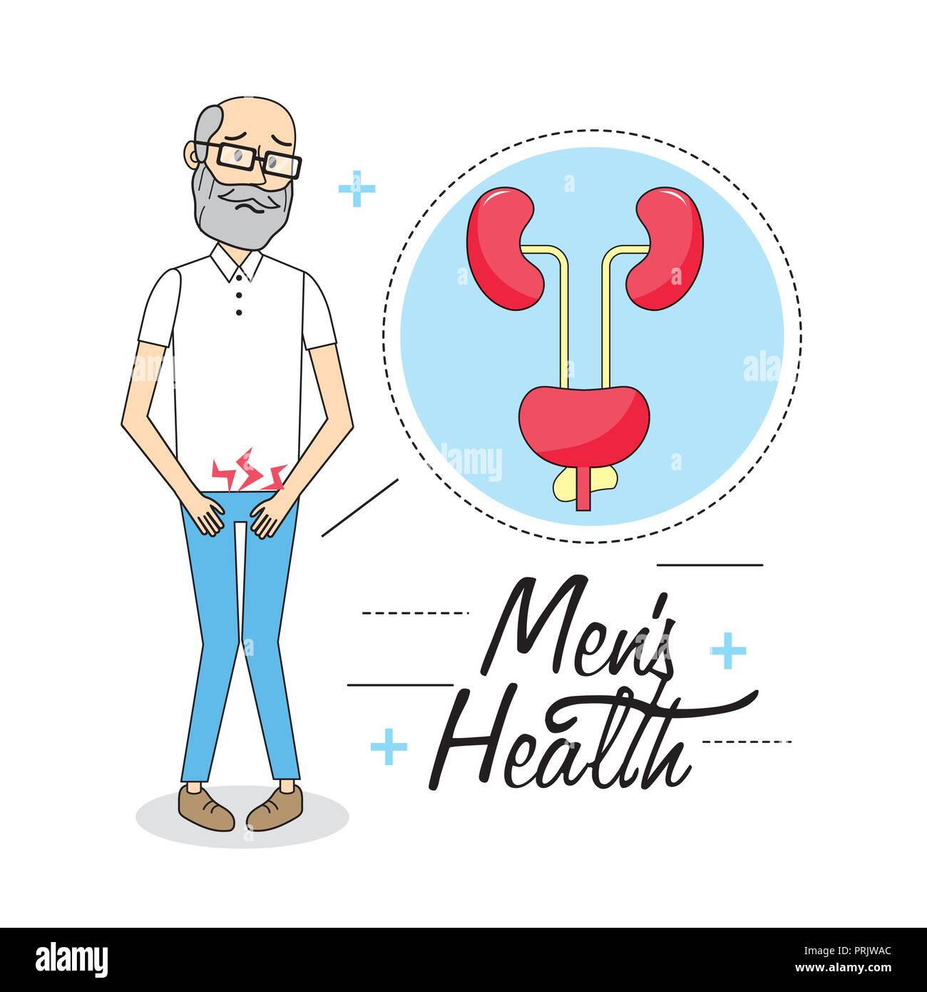 old man with illness of the urinary system - Stock Image
