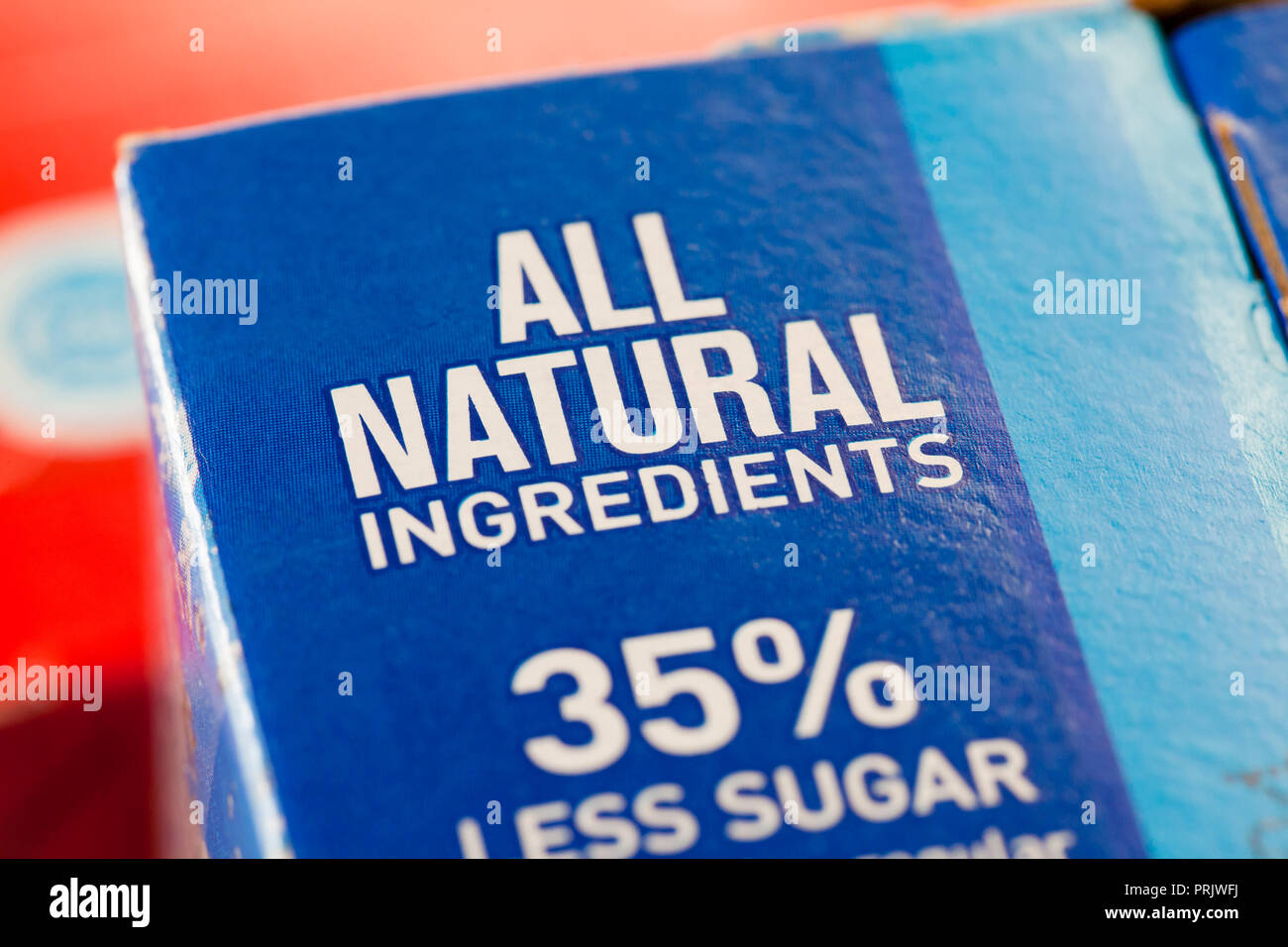 'All Natural Ingredients' claim on juice packaging - USA - Stock Image