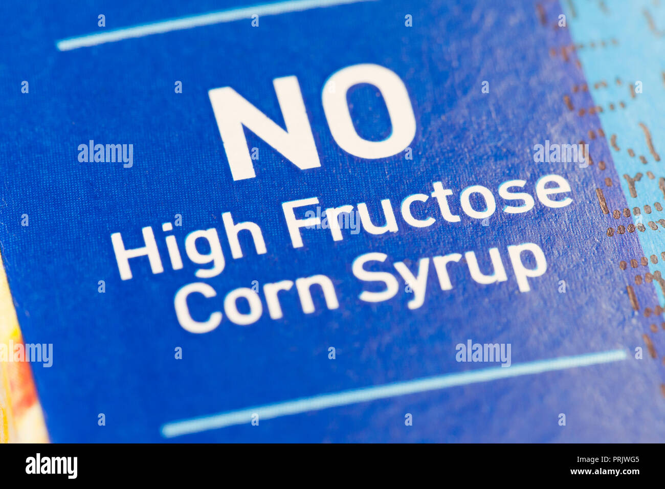 'No High Fructose Corn Syrup' claim on juice packaging - USA - Stock Image
