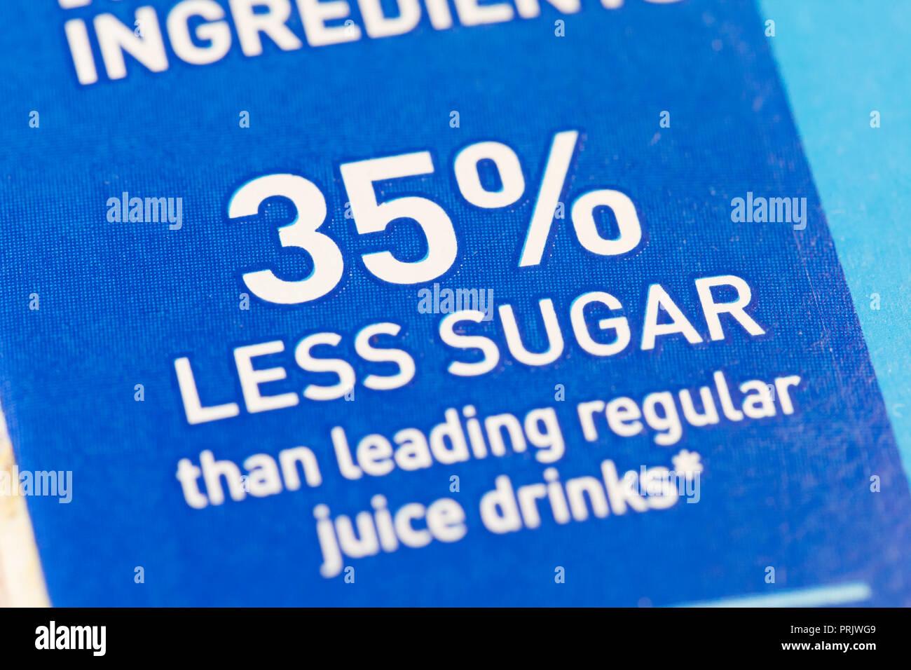 '35% less sugar than leading regular juice drinks' claim on juice packaging - USA - Stock Image