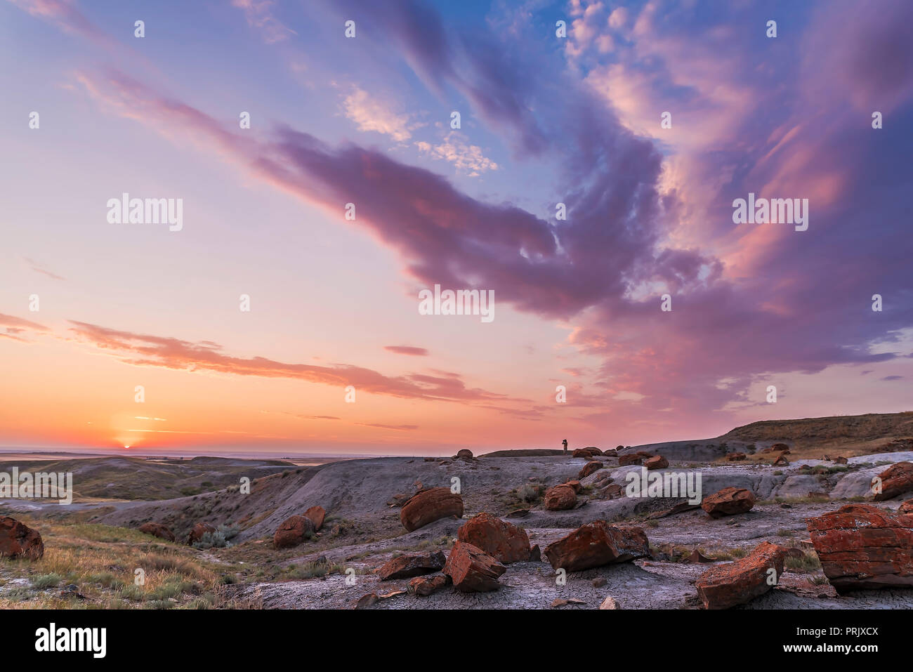 A particularly colourful sunset at the Red Rock Coulee Natural Area in southeast Alberta, with a lone figure silhouetted against the sky.  This is a 7 Stock Photo