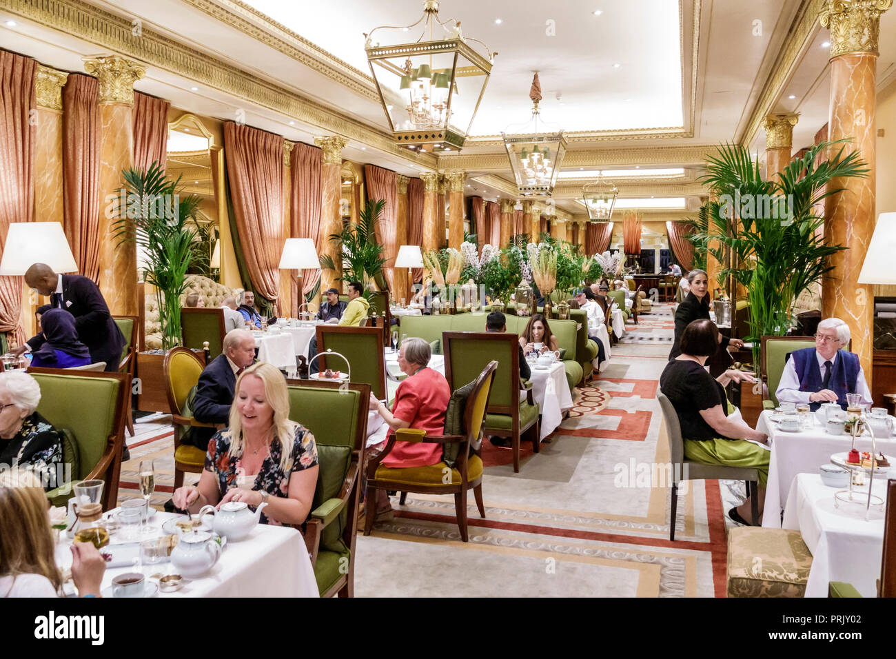 London England United Kingdom Great Britain West End City Westminster Mayfair Park Lane The Dorchester hotel luxury 5-star The Promenade restaurant af - Stock Image