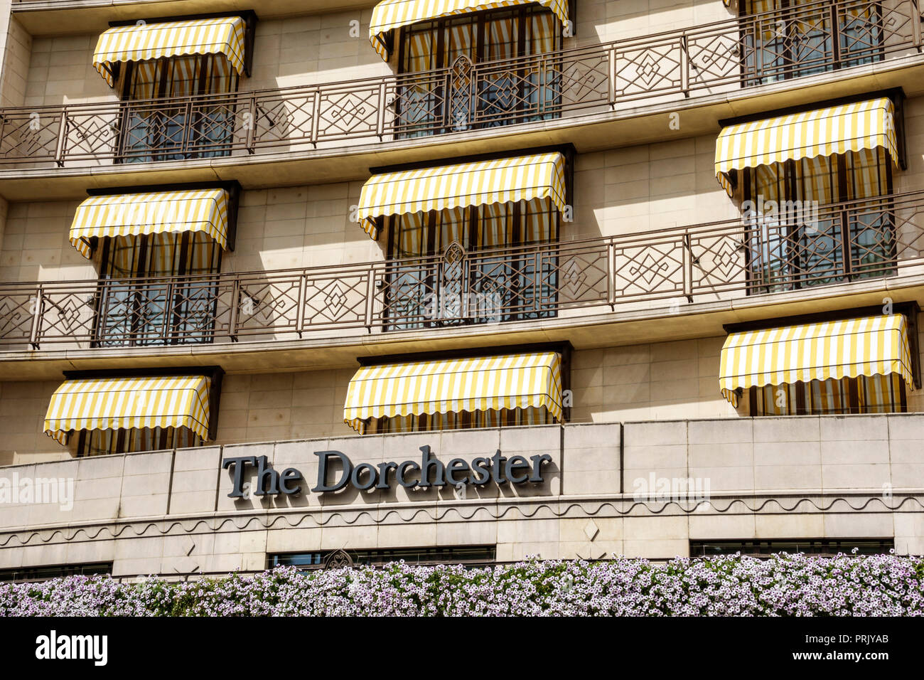 London England United Kingdom Great Britain West End City Westminster Mayfair Park Lane The Dorchester hotel luxury 5-star outside facade balconies aw - Stock Image