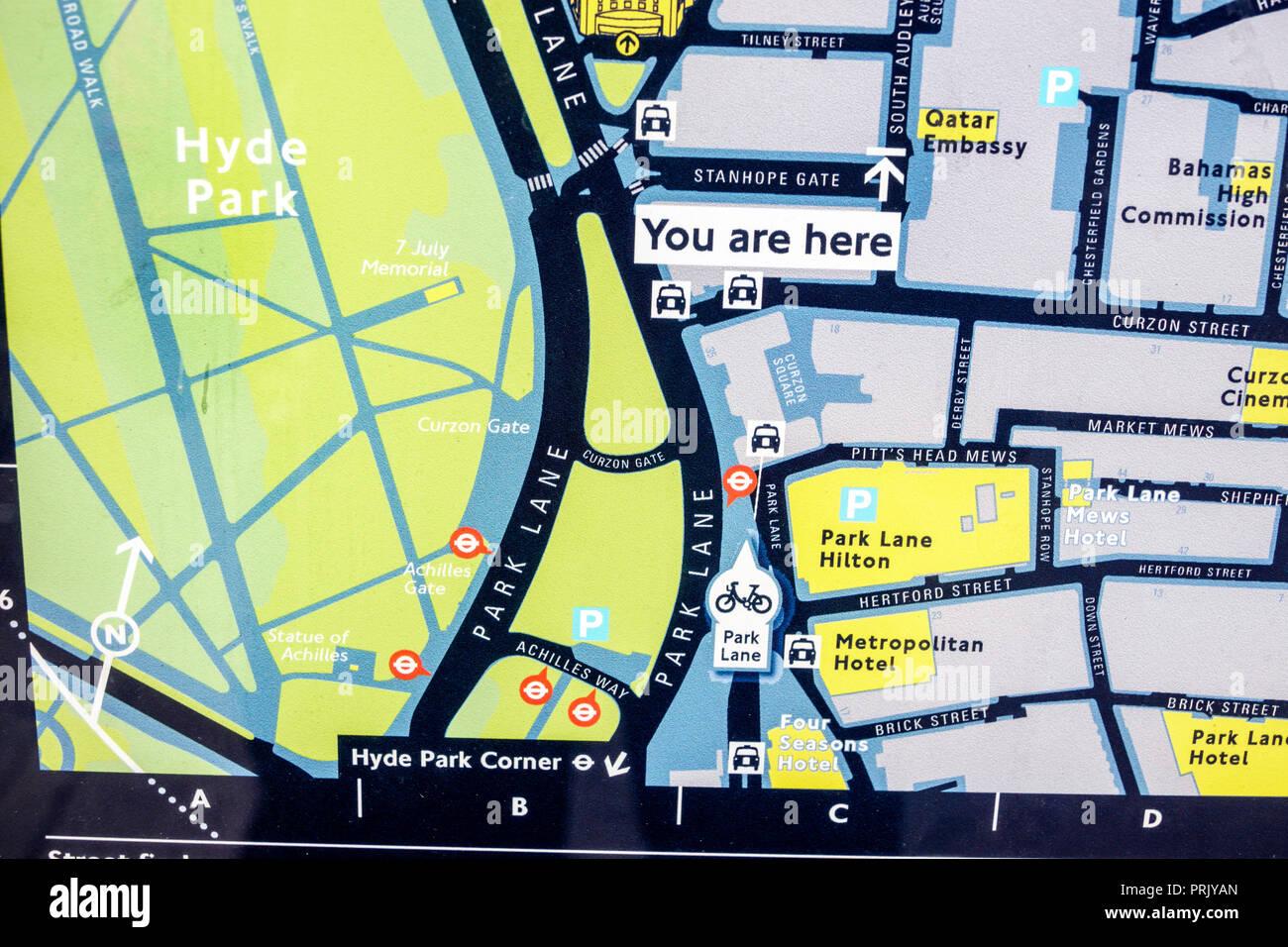 London Map Directions.London England United Kingdom Great Britain Mayfair Hyde Park Corner