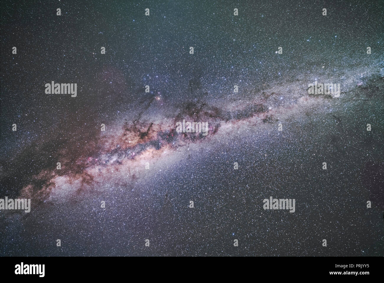 The formation of dark lanes called the Dark Emu in Australian aboriginal sky lore, seen here in its entirety with it overhead in the April pre-dawn sk - Stock Image