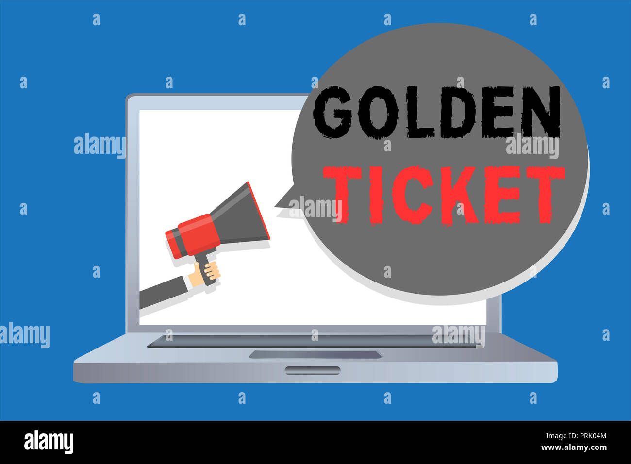 Writing note showing Golden Ticket. Business photo showcasing Rain Check Access VIP Passport Box Office Seat Event Man holding megaphone loudspeaker s - Stock Image