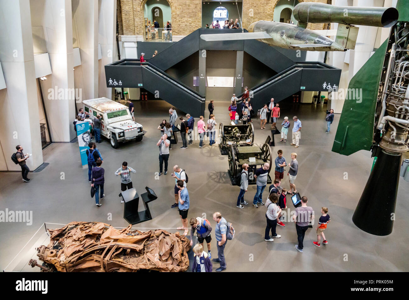 London England United Kingdom Great Britain Southwark Imperial War Museum military war weapons archives inside interior atrium exhibit aircraft vehicl - Stock Image