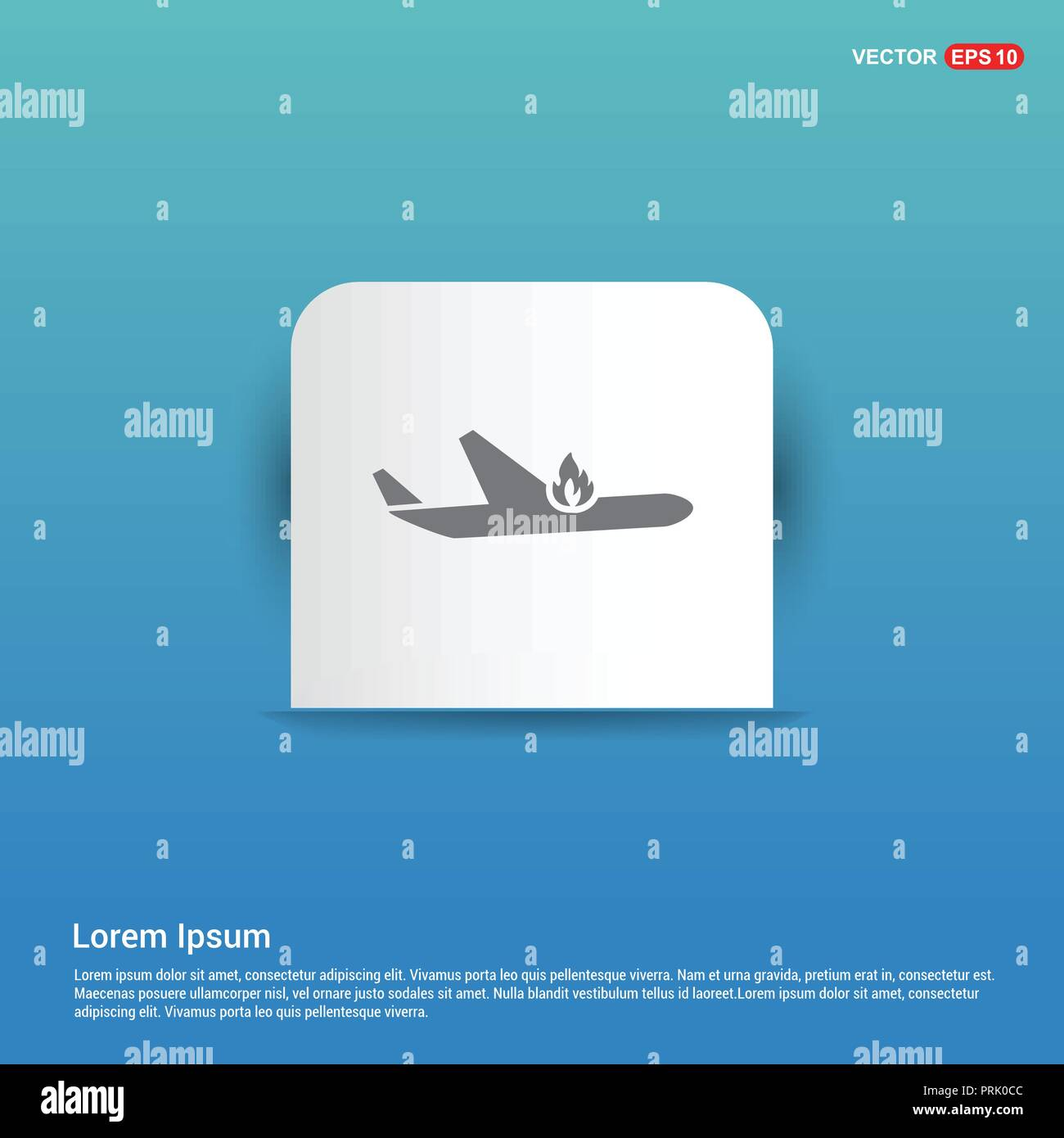 Airplane accident icon - Blue Sticker button - Stock Vector