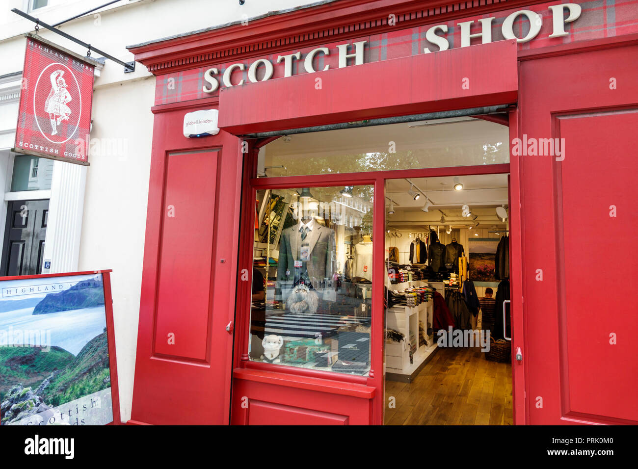 London England United Kingdom Great Britain Bloomsbury Highland Store Scottish Shop shopping store exterior window display front entrance business - Stock Image