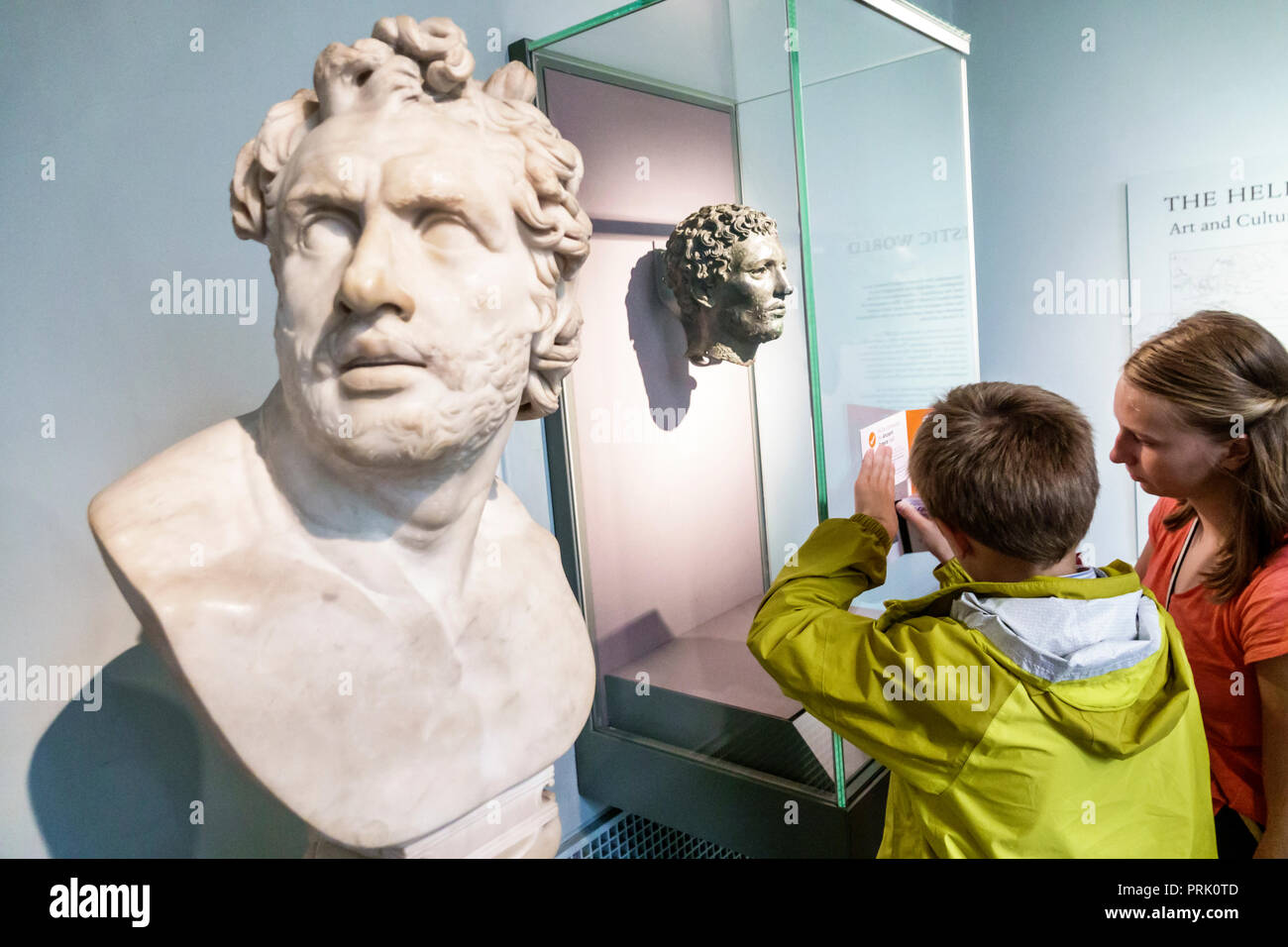 London England United Kingdom Great Britain Bloomsbury The British Museum human culture history interior gallery Roman marble head of Homeric hero Hel - Stock Image