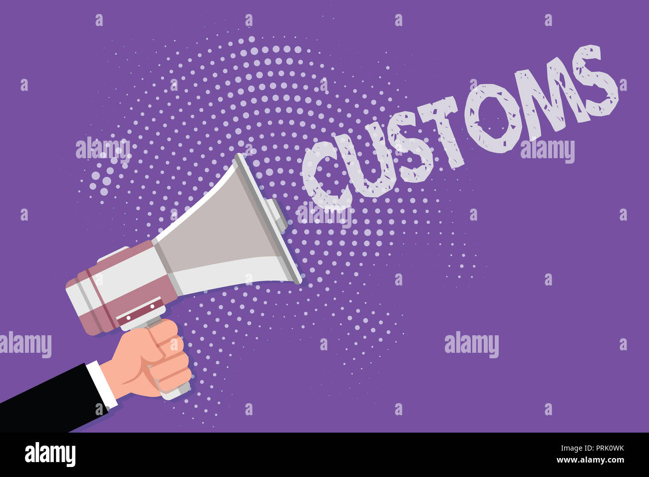 Handwriting text Customs. Concept meaning Official department administers collects duties on imported goods. - Stock Image