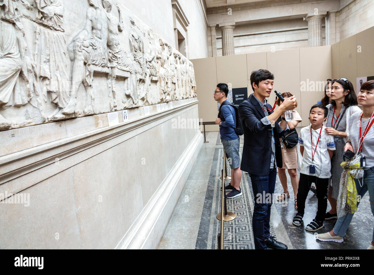 London England United Kingdom Great Britain Bloomsbury The British Museum human culture history interior gallery Elgin Parthenon Marbles Classical Gre - Stock Image