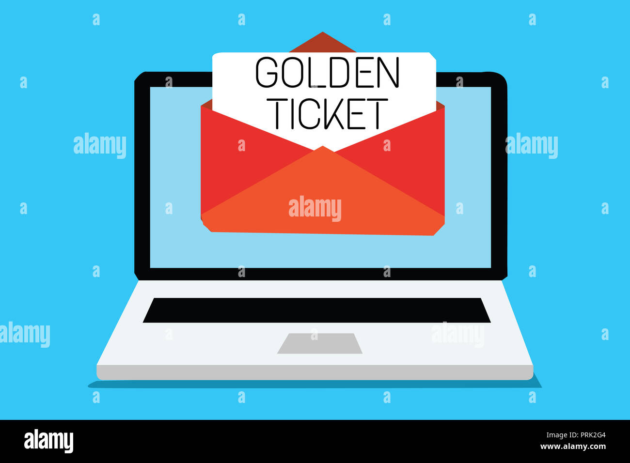 Text sign showing Golden Ticket. Conceptual photo Rain Check Access VIP Passport Box Office Seat Event Computer receiving email important message enve - Stock Image