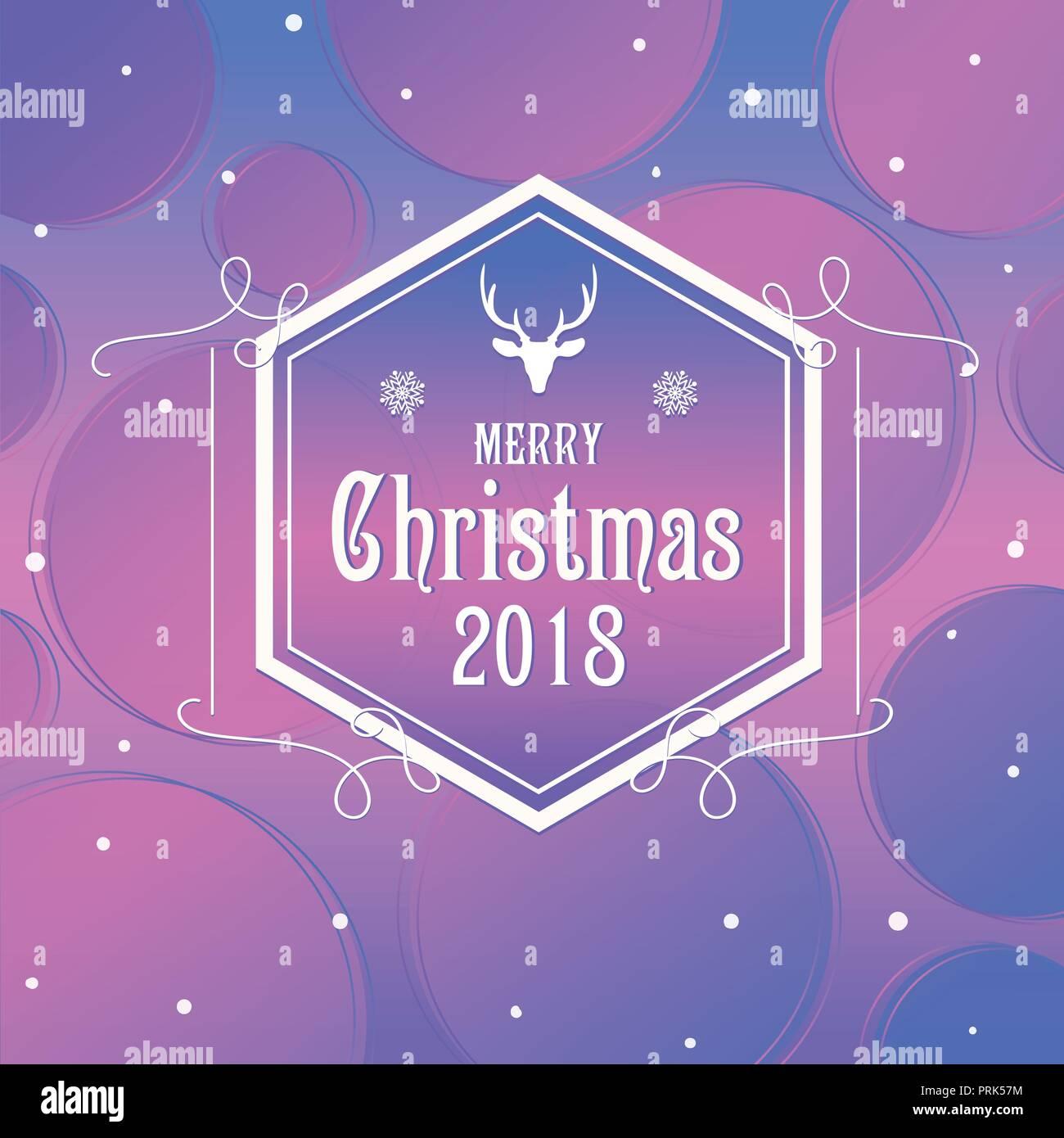 Merry Christmas Poster 2018.Merry Christmas Poster Design Vector Illustration Stock