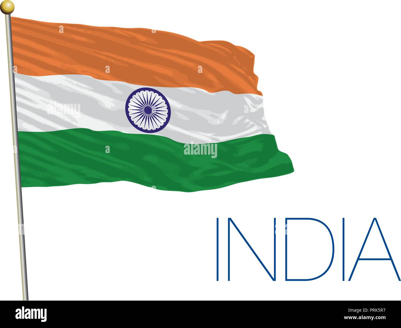India official flag, vector illustration - Stock Vector