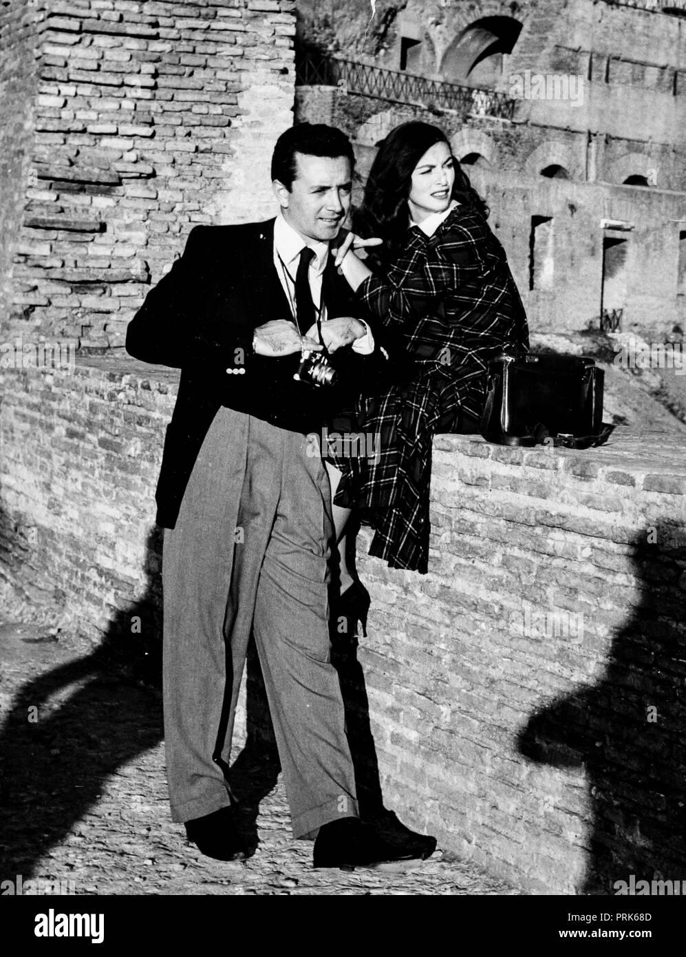 vic damone, anna maria pierangeli, rome 1956 - Stock Image