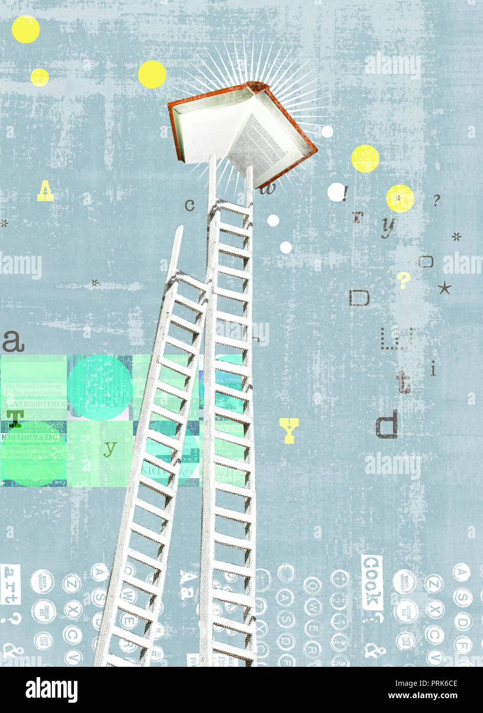 Ladder reaching for book - Stock Image