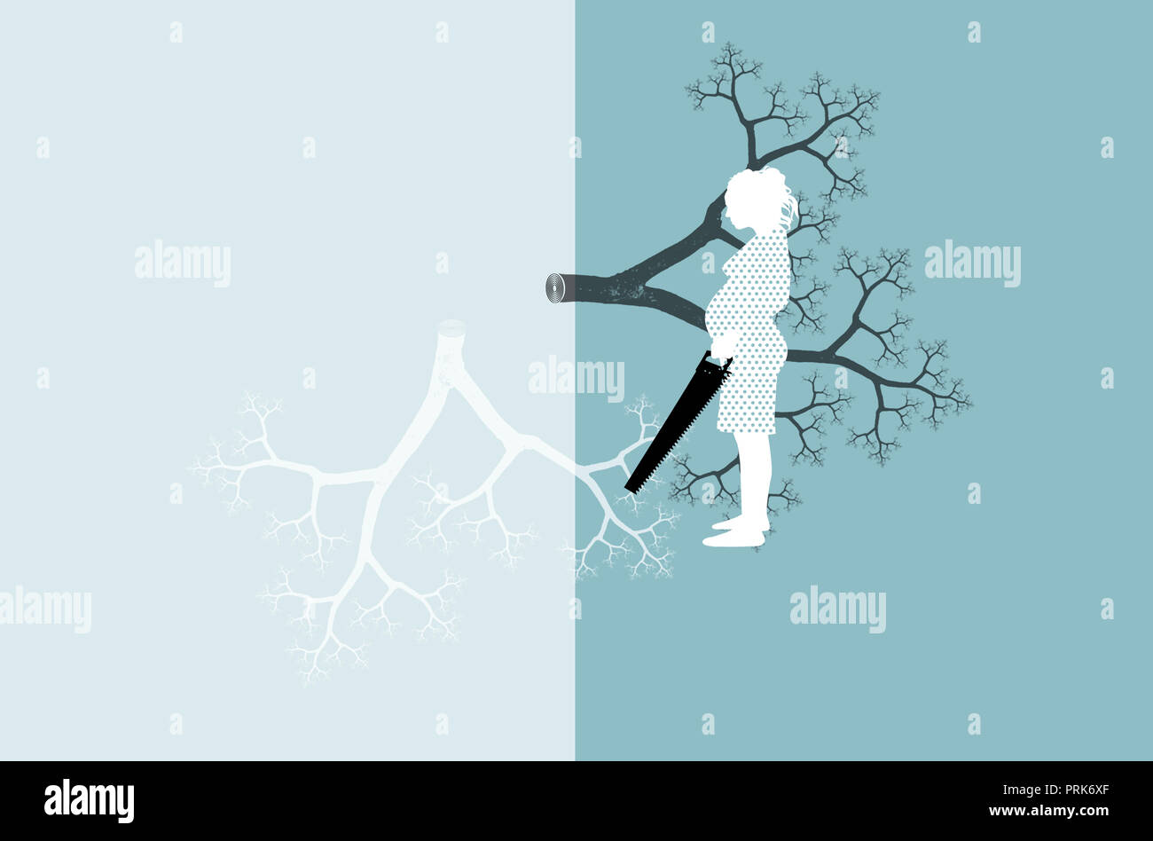 Pregnant woman with saw and family tree - Stock Image
