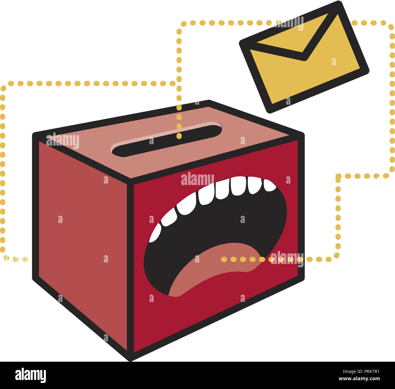shouting box with letter - Stock Image