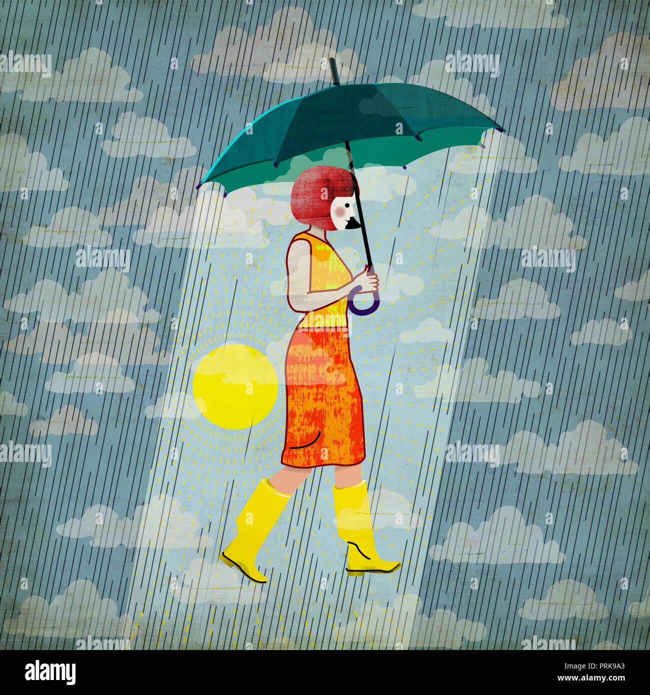 optimistic woman with umbrella - Stock Image