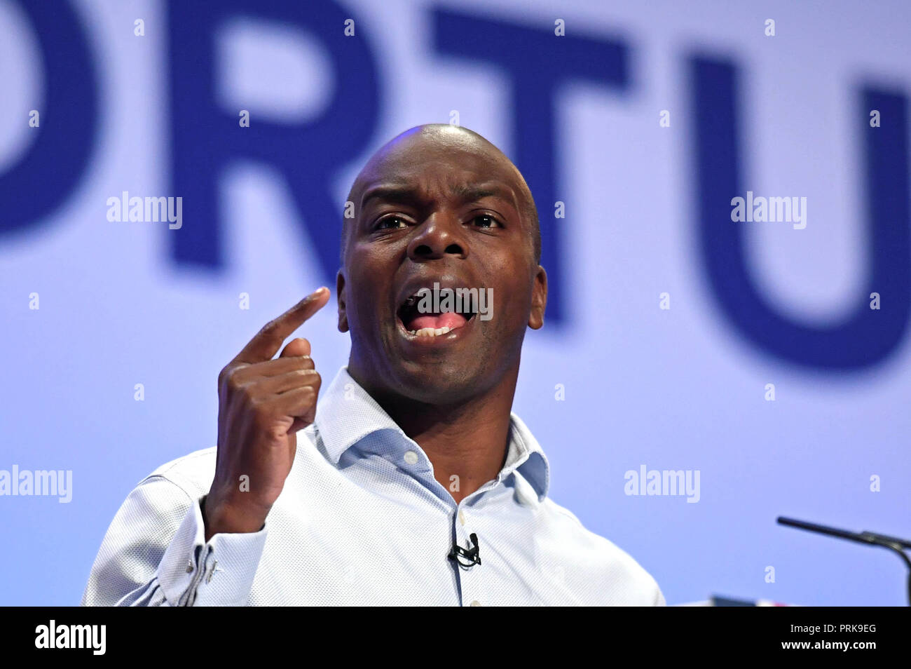 Shaun Bailey, who is the Conservative candidate for the next London mayoral election, speaks during the Conservative Party annual conference at the International Convention Centre, Birmingham. - Stock Image