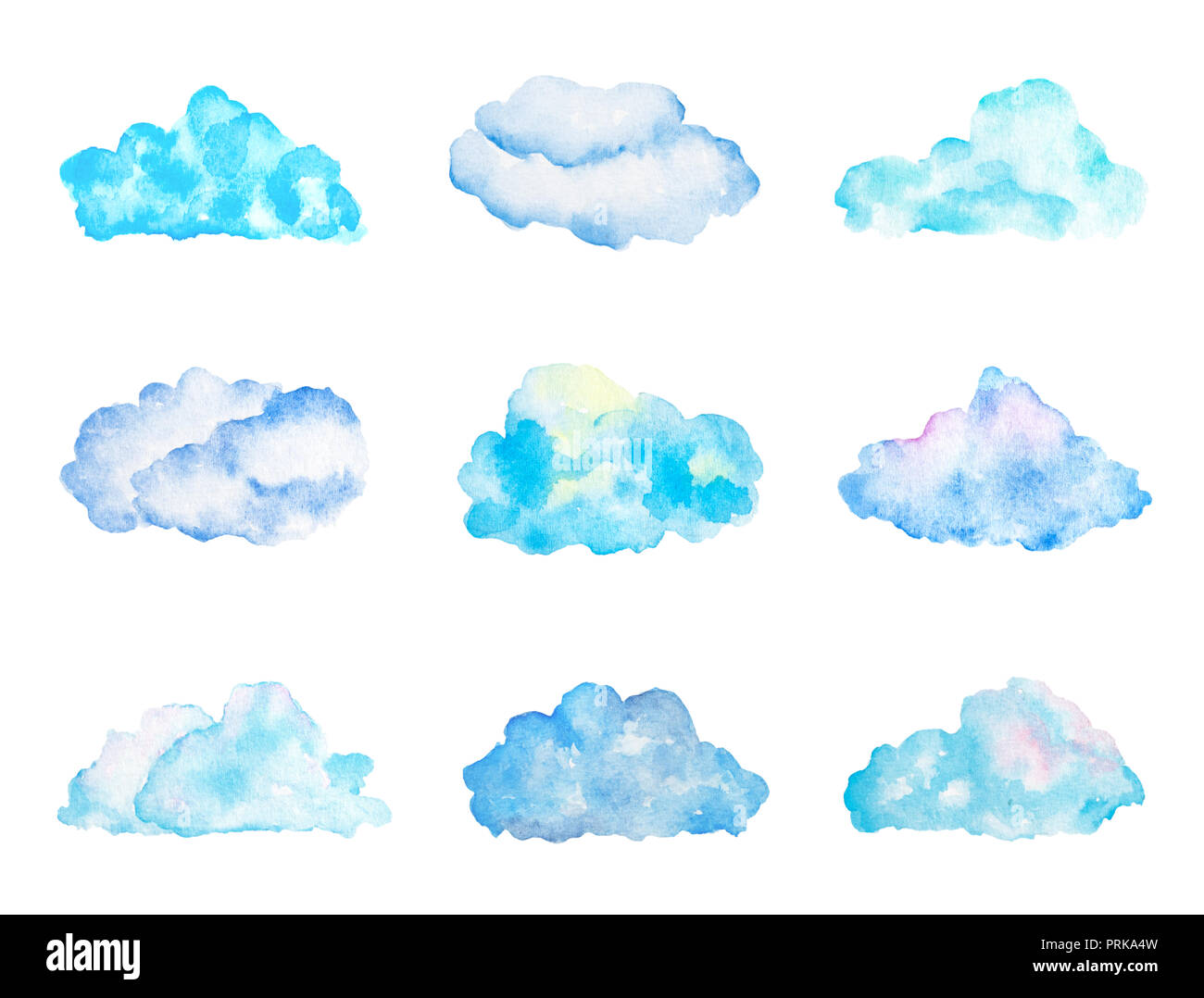 Set of Bright Light Blue Watercolor Clouds, Isolated on White, Hand Drawn and Painted - Stock Image