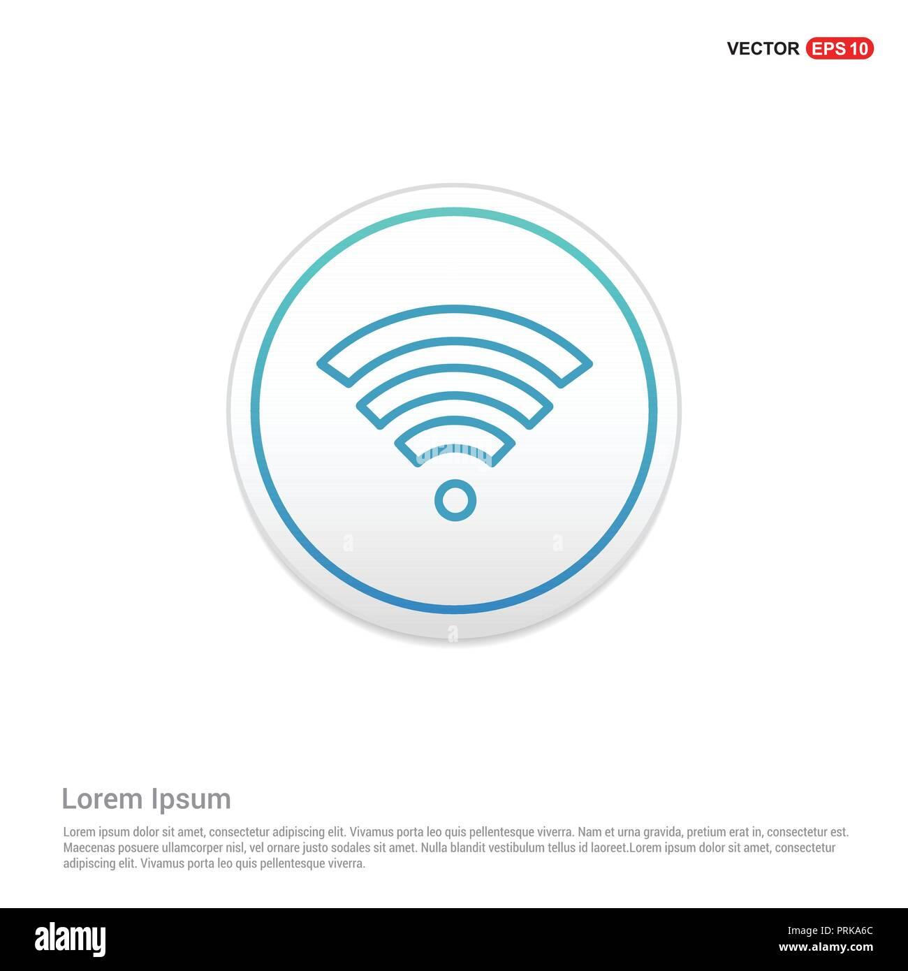 Wifi signal icon - white circle button - Stock Image
