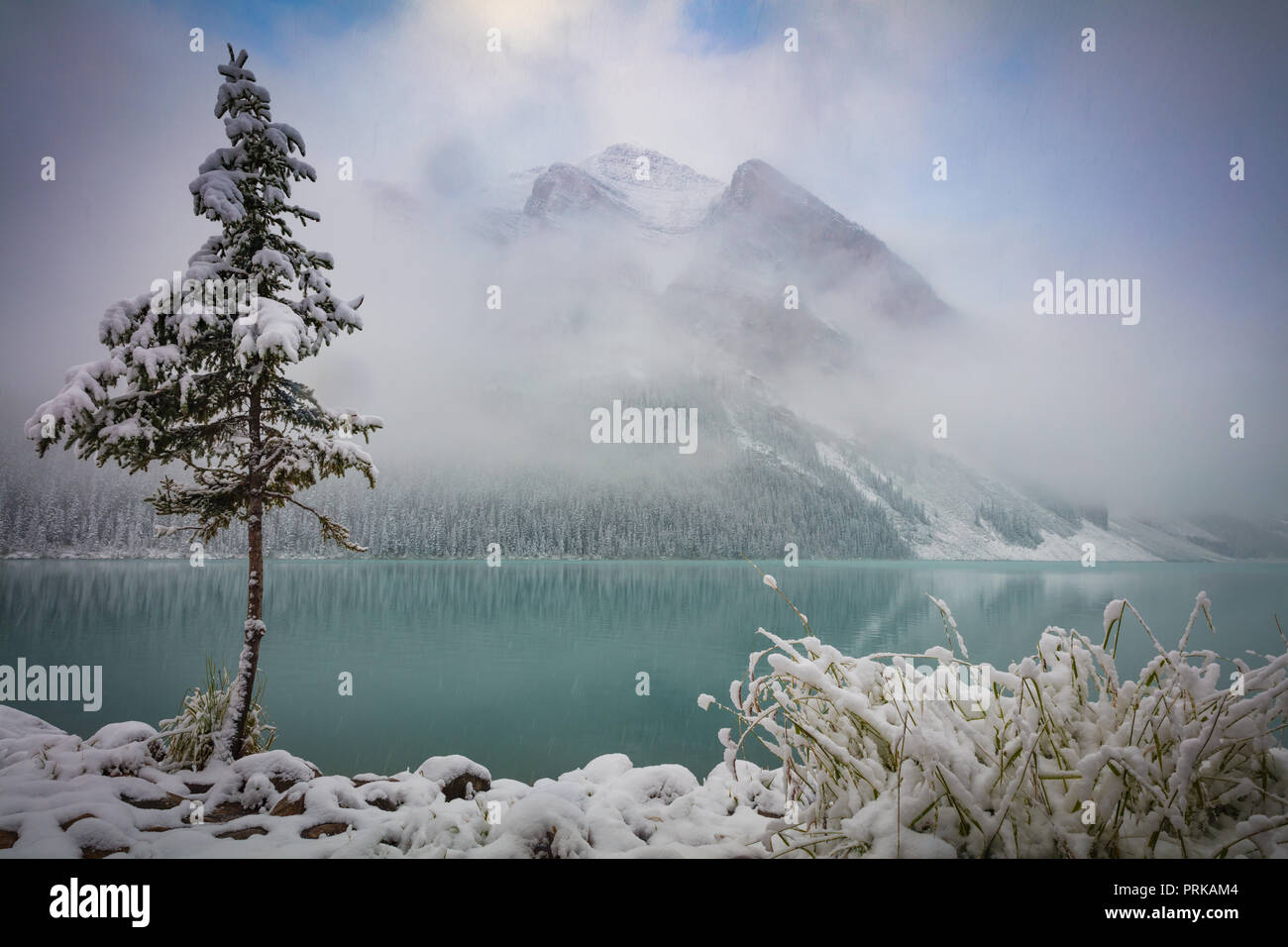 Lake Louise is a glacial lake within Banff National Park in Alberta, Canada. - Stock Image